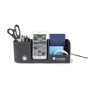 Truman Wireless Charging Desk Organizer - Black